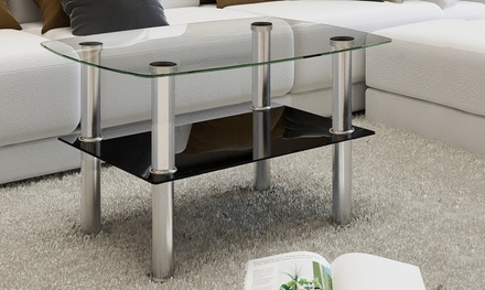 tables basses brillantes en verre groupon. Black Bedroom Furniture Sets. Home Design Ideas