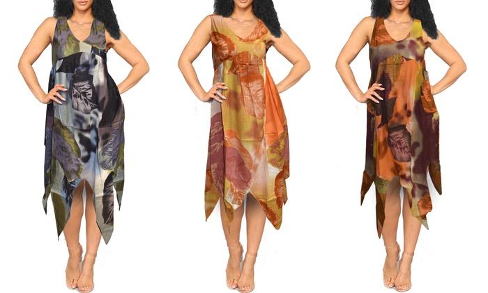 Women\'s Plus Size Handkerchief Hem Dress   Groupon