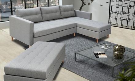 Canapé d'angle Scandinave Copenhague avec ou sans pouf, coloris au choix, livraison offerte