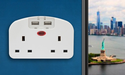 One or Two Intercontinental Travel Double Adapters with Two USB Ports