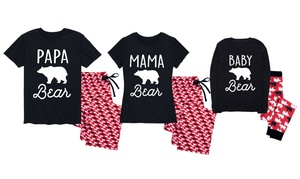 Family Pajama Sets in Papa Bear, Mama Bear, and Little Bear Prints