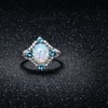 Opal and Aquamarine Ring in 18K White Gold Plating