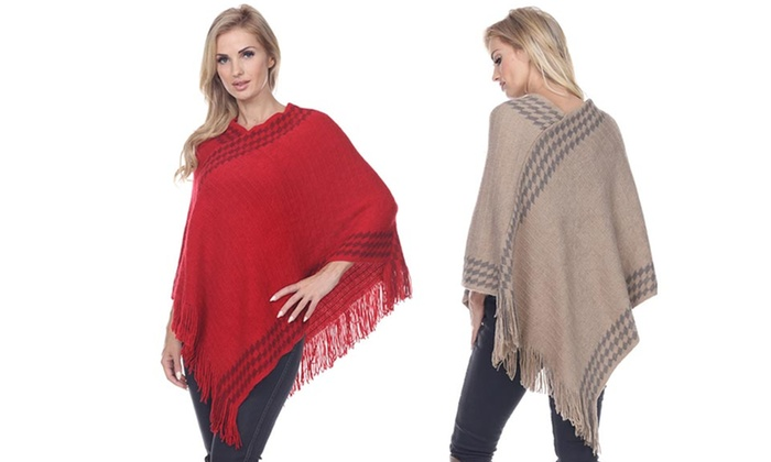 Knit Women's Ponchos with Checkered Trim and Fringe