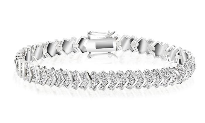 18K White Gold Plated Diamond Accent Chevron Bracelet