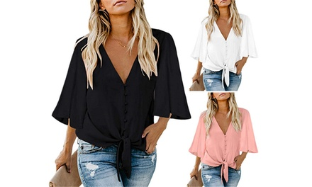 Women's Bell Sleeve VNeck Top: One $18 or Two $28