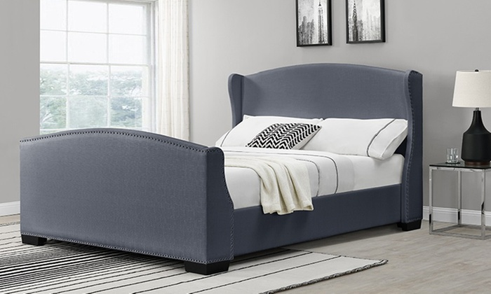 linen fabric bed frame