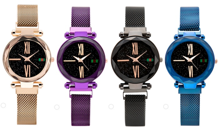One or Two Black Face Magnetic Buckle Watches