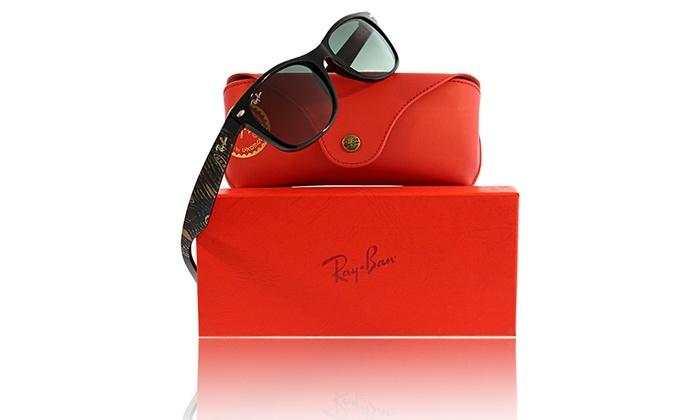 Ray-Ban New Wayfarer Sunglasses Special Edition Saretta Fielding RB2132    Black   55-18-145   Grey Gradient Yes Acetate 30eec491e1