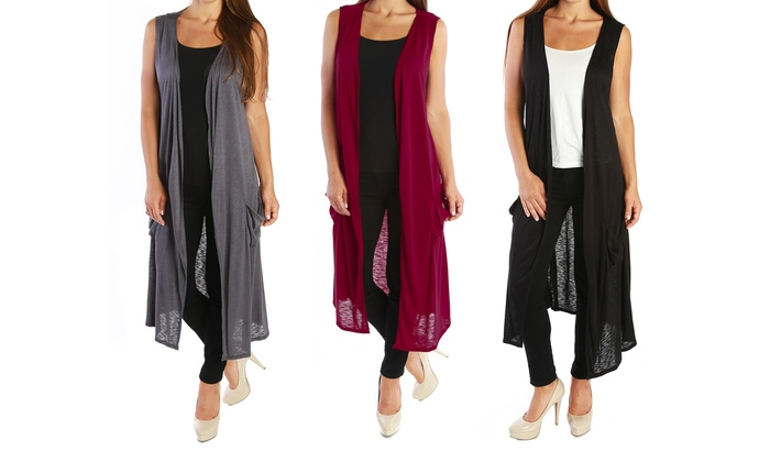 b155a669a Nelly Women's Plus Size Long Sleeveless Cardigan | Groupon