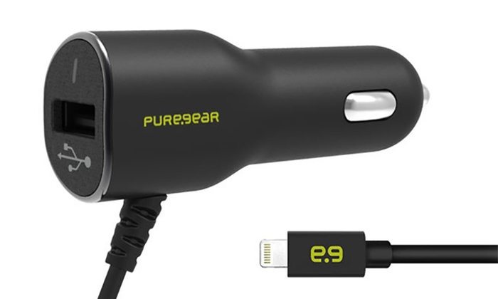 PureGear 3.4A Car Charger with Integrated Lightning Cable and USB Outlet