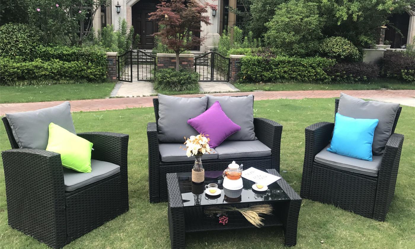 Yakoe Four-Seater PE-Rattan Garden Furniture Sofa Set with Optional Cover (£239.99)