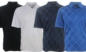 PGA Tour Men's Diamond-Print Polo Golf Shirt