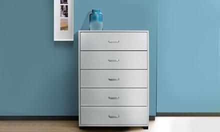 Cassettiera o comodino in legno melaminico disponibili in vari modelli e 2 colori
