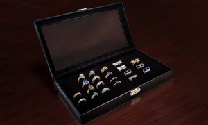 Glass Top Jewelry Display Case 72 Slot Ring Tray