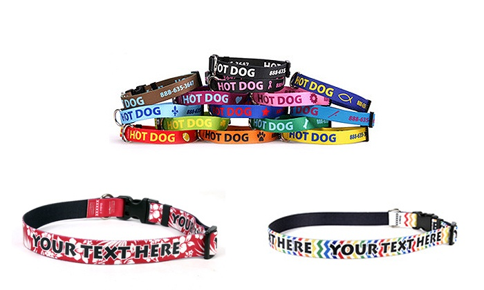 Hot Dog Collars: One Small, Medium, or Large Personalized Dog Collar from Hot Dog Collars (Up to 50% Off)