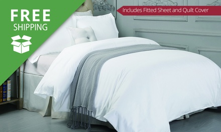 Free Shipping: for a 1500TC Cotton Fitted Sheet Set and Quilt Cover Set Combo Don't Pay up to $239