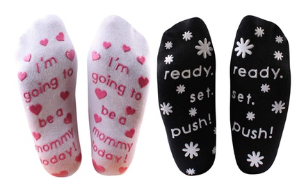 One or Two Maternity Print Socks in Choice of Colour