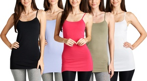Extra-Long Spaghetti Strap Tunic Camisole with Built-in Bra (5-Pack)