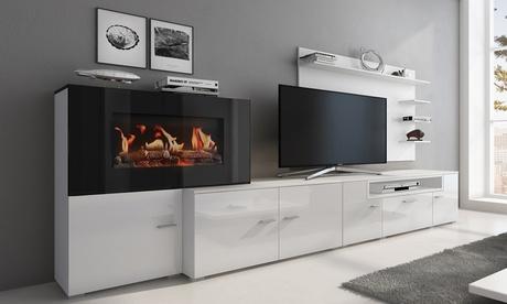 Wohnzimmer-Möbel-Set mit eingebautem elektrischem Kamin in der Farbe nach Wahl inkl. Versand