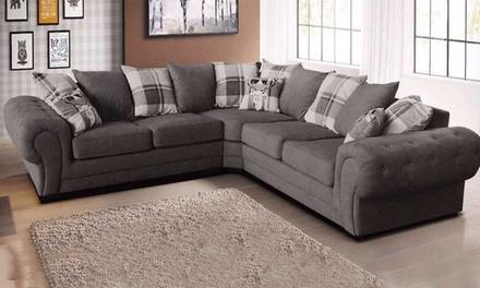 Fabric Scroll Arm Corner Sofa