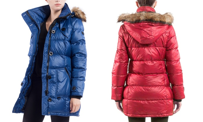 Women's Quilted Long Jacket with Removable Hood