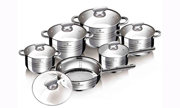 Batterie de cuisine blaumann groupon - Batterie de cuisine pour plaque induction ...