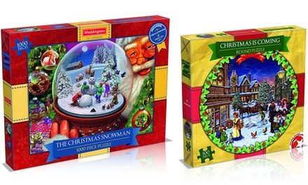 """Winning Moves 500Piece """"Christmas is Coming"""" or Waddingtons 1000Piece """"The Christmas Snowman"""" Puzzle from £5.99"""