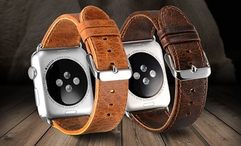 WalvoDesign Leather Replacement Band for Apple Watch 1, 2, 3, 4 & 5