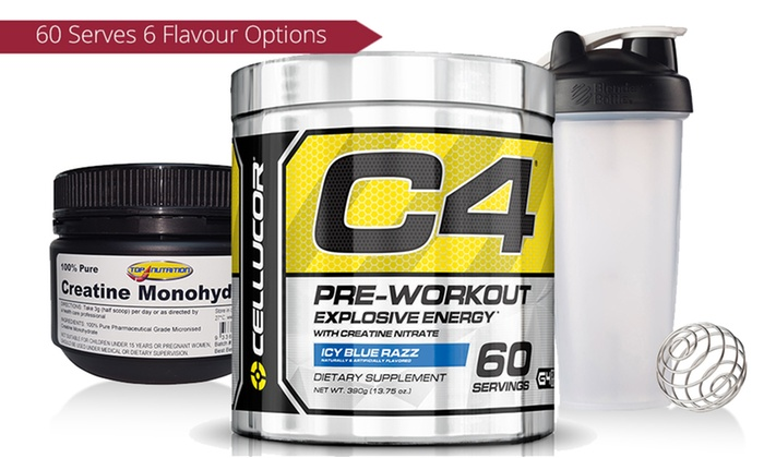 C4 Pre Workout Creatine And Shaker Groupon Goods