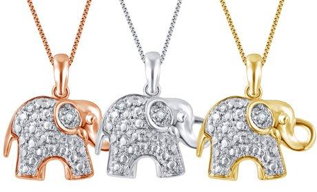 14K Gold Plated Diamond Accent Elephant Pendant