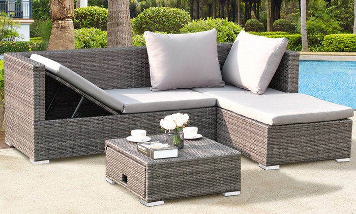 Rattan Wicker Sofa Patio Furniture Set