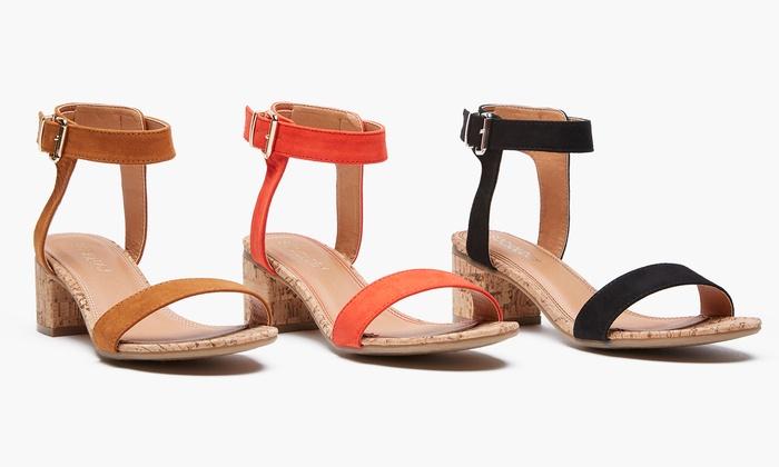 afd14e8df76 Sociology Women s Cork Block-Heel Sandals (Size 6.5)