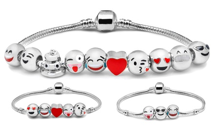 Bracelet à breloques Emoji Version Or Blanc