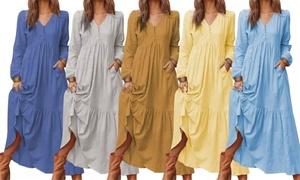 Robe maxi évasée à manches longues, plusieurs tailles disponibles