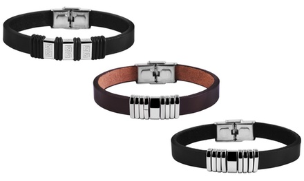 Faux Leather and Stainless Steel Mens Bracelet