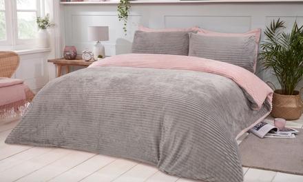 Parure de lit bicolore réversible en polaire