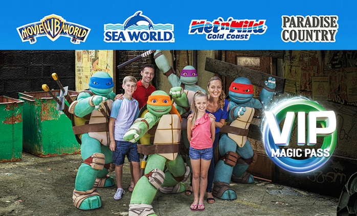 $89.99 VIP Magic Pass: Unlimited Entry to Warner Bros. Movie World, Sea World, Wet'n'Wild Gold Coast + Paradise Country