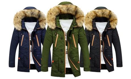 Abrigo de invierno con capucha para hombre