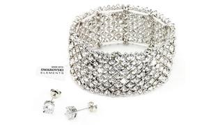 (Bijou)  Bracelet et boucles d'oreilles Swarovski® -89% réduction