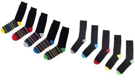 Pack of Five Men's Striped or Polka Dot Socks