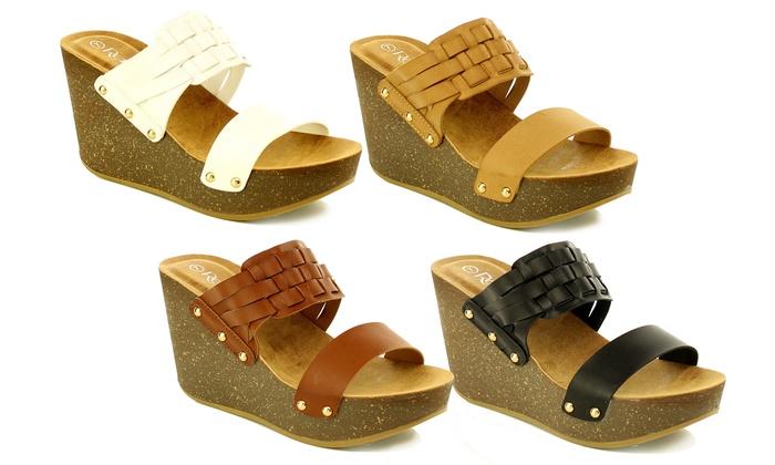 Mata Womens Fashion Slip-On Cork Platform Wedge Sandals