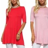 Isaac Liev Women's 3/4-Sleeve A-Line Tunic Top