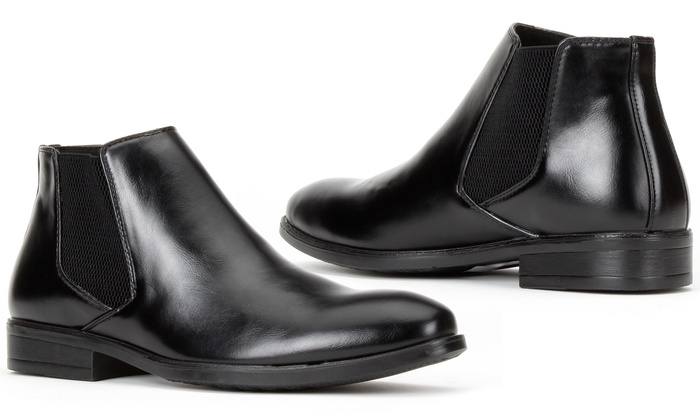 Mens Ankle Dress Boots Slip On Wing Tip Faux Leather Chelsea Boots Booties Size