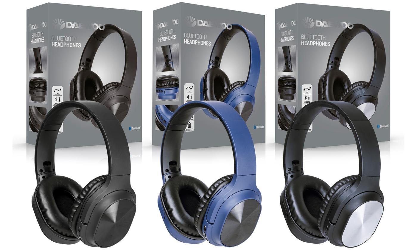 Daewoo Foldable Bluetooth Wireless Headphones in Black, Blue or Silver