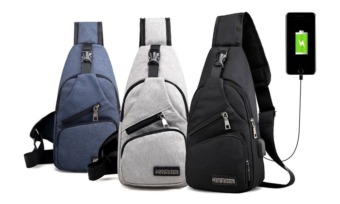 jusqu 39 80 sac dos avec port usb groupon. Black Bedroom Furniture Sets. Home Design Ideas