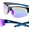 Men's Shiny Black and Navy-Blue Sunglasses with Blue Revo Lenses