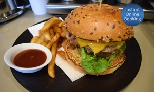 Bee Bee Cafe: Burger with Fries and Drink for One ($12), Two ($24) or Four People ($48) at Bee Bee Cafe (Up to $97.60 Value)