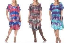 Women's Short-Sleeve Tie Dye Dress. Plus Sizes Available.