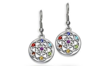 1 of 2 paar Chakraoorbellen met kristallen van het merk The Gemseller