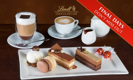 Lindt Chocolate Café Cake Platter with Hot Drinks for Two People for $19.99 - Choice of 8 Locations (Up to $48.50 Value)